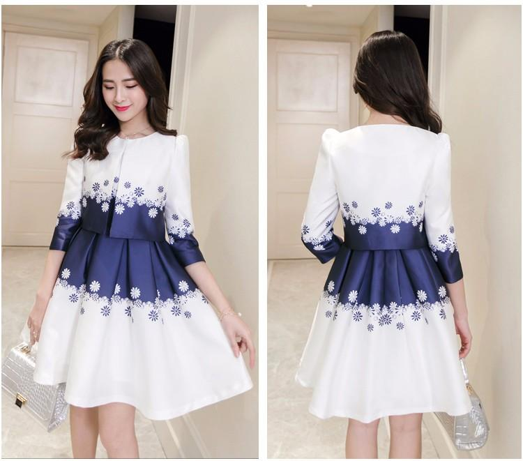 New Spring Summer Women Dress Suits 2 Pieces Slim Edition Fl Printed Pleated Fashionable Coat For Office Lady In From S