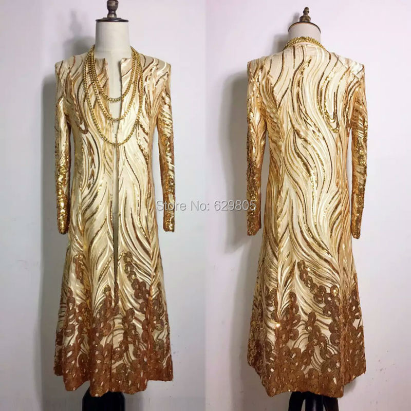Plus la Taille M-4XL Brillant Or Sequin Style Long Veste Pour Hommes Chanteur Stage Porter Paillette Blazer Costume Discothèque Bar Pardessus