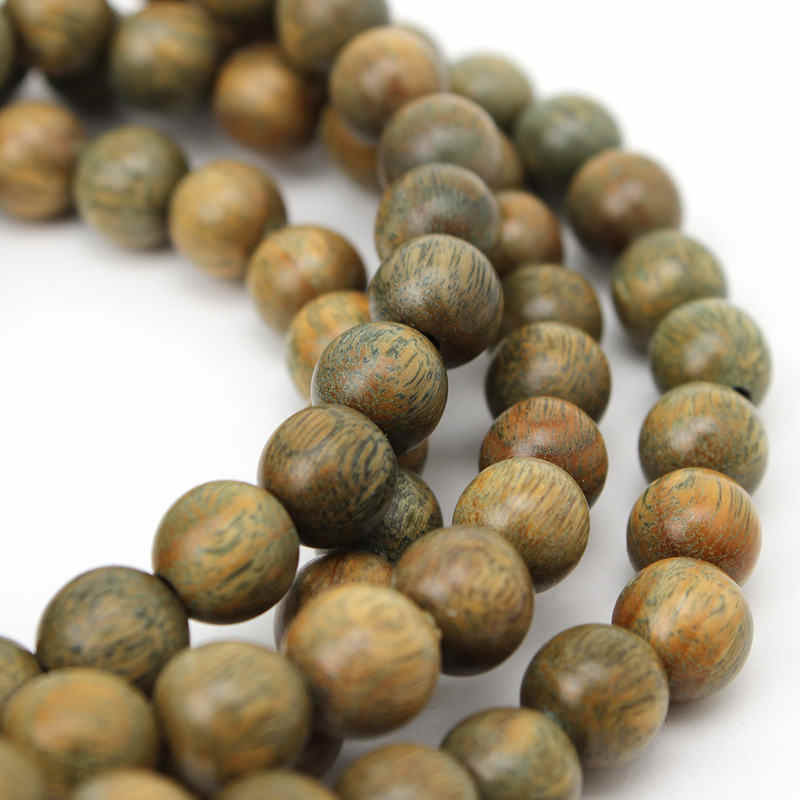 BRO933 Buddhist 8mm 108 Natural Green Sandalwood Prayer Malas Bracelets Fragrant Wooden Verawood Beads Necklace Free Shipping