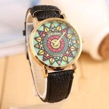 Великолепный Мода Луиза 2016 Genvea Цвет Компас Золотой Циферблат Кожаный Ремешок Женщины Кварцевые Наручные Часы Freeshipping