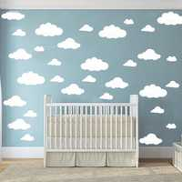42pcs Large size Cartoon Clouds Shape Wall Art Decals DIY Funny Clouds Vinyl Wall Sticker Kids Room Mural Nursery Art Wall Decor