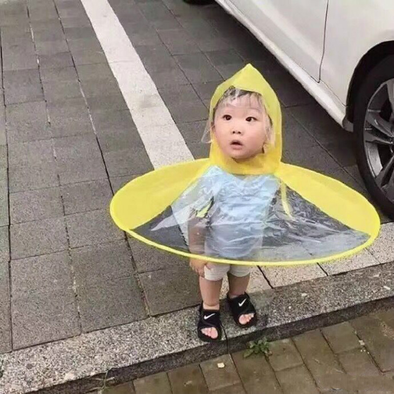 UFO Baby Raincoat Rain Hat Umbrella Cover Cloak Non Handle Rain Cape Creative Design Funny Baby Outdoor Play Kindergarten 5 folding mini rain umbrella creative capsule umbrella