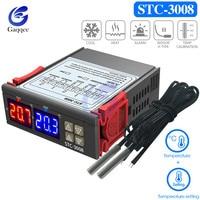 STC-3008 двойной цифровой регулятор температуры два реле выход термостат с датчиком DC12V 24V AC110-220V домашний холодильник прохладное тепло