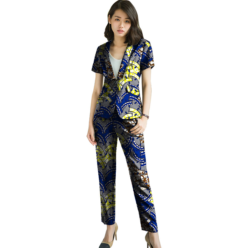African print women blazer with pant 2 pieces fashion short sleeve suits trousers+blazers dashiki outfits Africa clothing