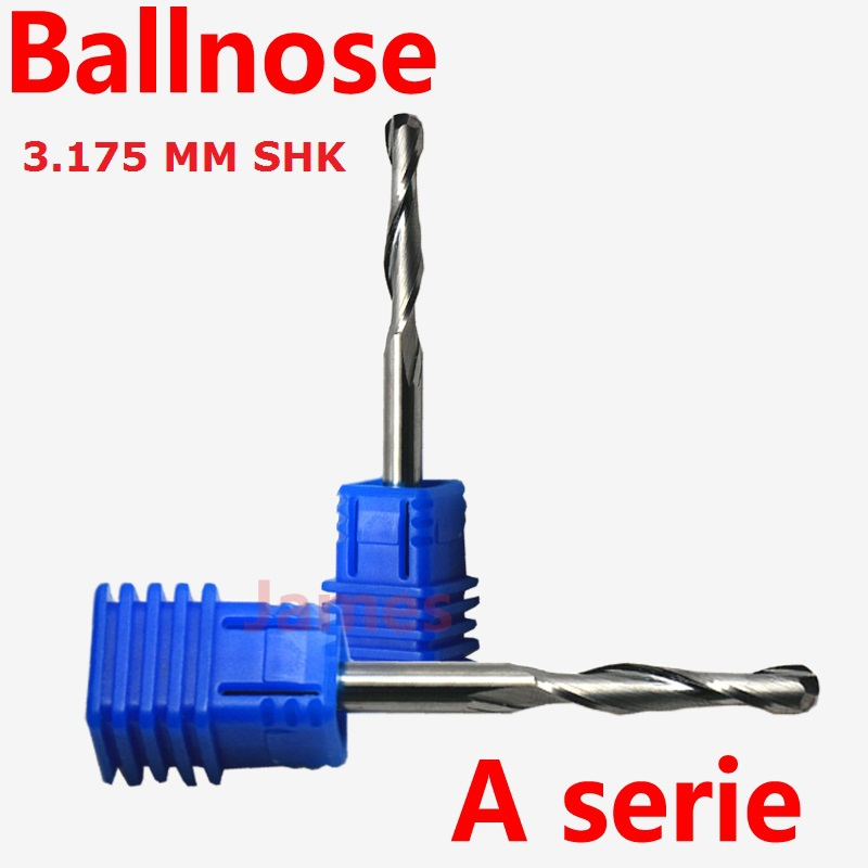 1pc 3.175mm SHK A series CNC BALLNOSE router bits Silhouette relief tools Flutes Milling cutter Ball nose 2 End Mill 10pcs box 1 8 inch 0 8 3 17mm pcb engraving cutter rotary cnc end mill milling cuter drill bits