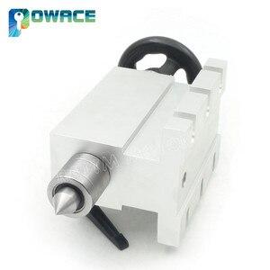 Image 4 - [האיחוד האירופי משלוח] K12 100mm 4 לסת צ אק 100mm CNC 4th ציר (aixs, ציר סיבובי) & Tailstock עבור מיני CNC נתב/נגרות engravin