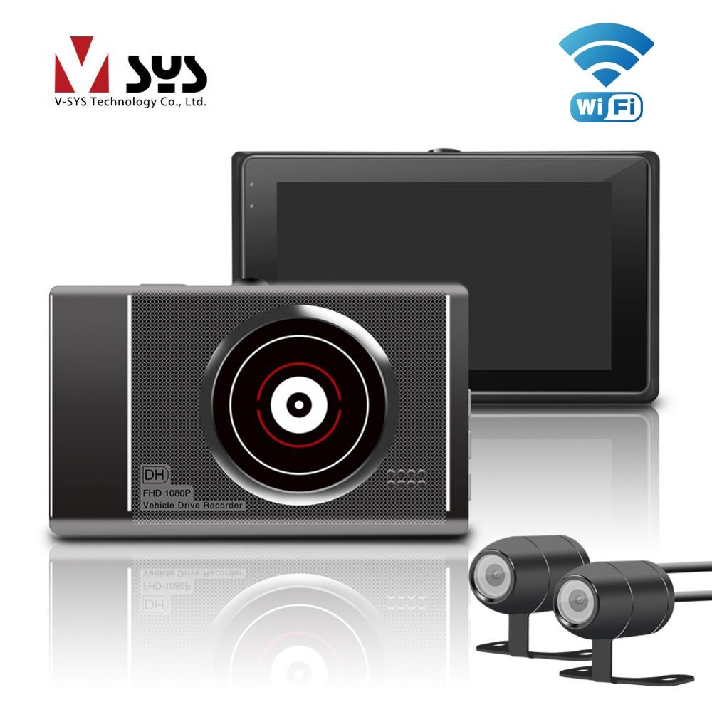 VSYS T2 Mise À Niveau M1 WiFi Double Caméra Moto DVR Dash Cam Avant 1080 p + 720 p vue Arrière de Moto caméra Moto Conduite Enregistreur