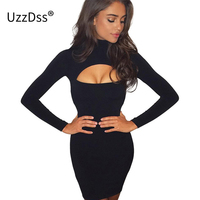 UZZDSS Hollow Out Bodycon Bandage Dress Women Slim Long Sleeve Party Club Pencil Dress Autumn Winter