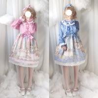 Palace Cat Party Cute Lolita OP Dress Women's Gorgerous Lace Trim Bows Fairy Kei Long Sleeve One Piece Dolly Princess Dress