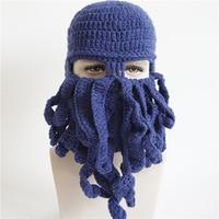 Osobowości Mody Ręcznie Dziania Kapelusz Halloween Party Prezent Funny Beard Octopus Maska Mężczyzna Kobiet Czapka Zimowa Z Wełny Drutach H002