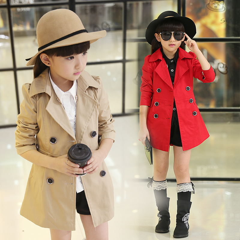 Girls Trench Coats Double Breasted Jackets For Girls Clothing Tops Kids Windbreaker Spring Autumn Outerwear for 5-12 years old 2016 new spring girls coats double breasted leather round neck with belt and bow high quality 4 8 years old kids clothes