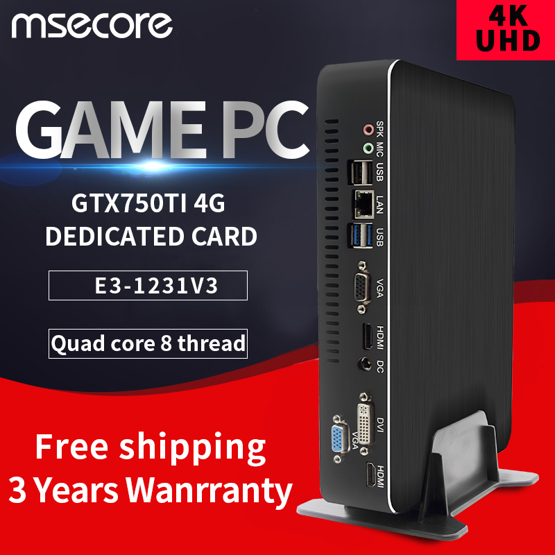 MSECORE Intel E3 1231V3 GTX750TI 4G Dedicated Card Mini PC Windows 10 HTPC Nettop Barebone Linux Game Desktop Computer 4K  WiFi