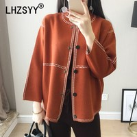 LHZSYY Spring New Women S Cashmere Cardigan O Neck Loose Large Size Solid Color Wool Knit