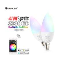 цена на Zigbee hub led 4W candle light bulb rgb/rgbw/rgbww/cw smart APP control AC100-240V E12/E14 wotk with amazon echo plus