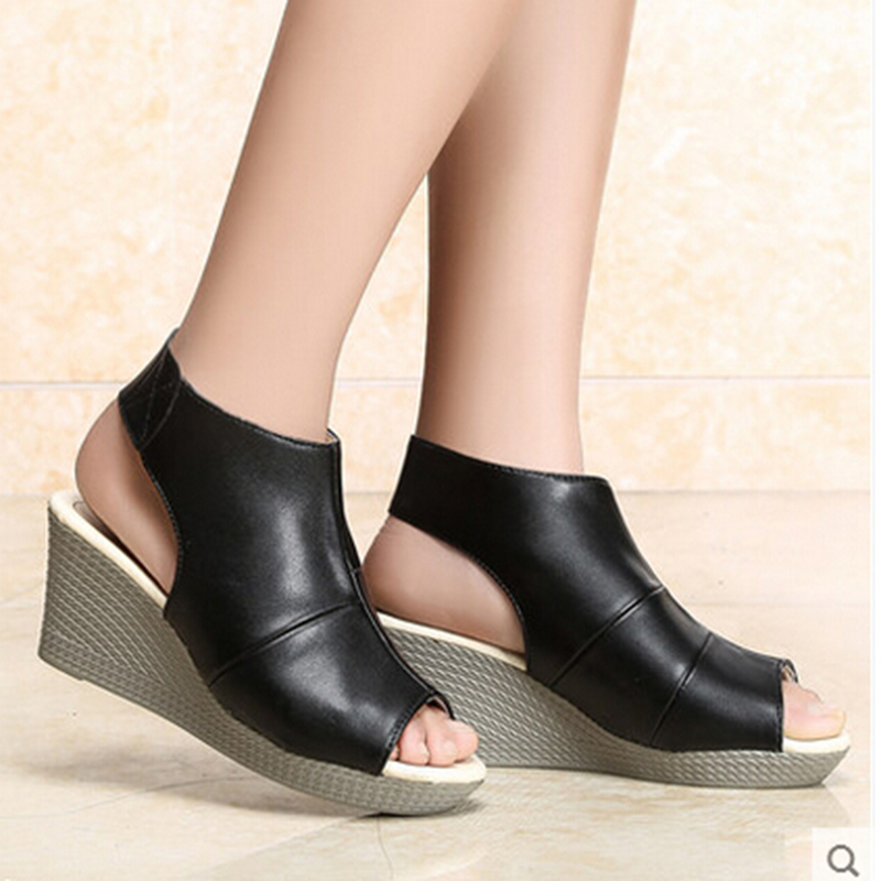 Wear Casual Black Wedge Fish Mouth Shoes High Heels Quality Hook Loop Ladies Pantshoes font b
