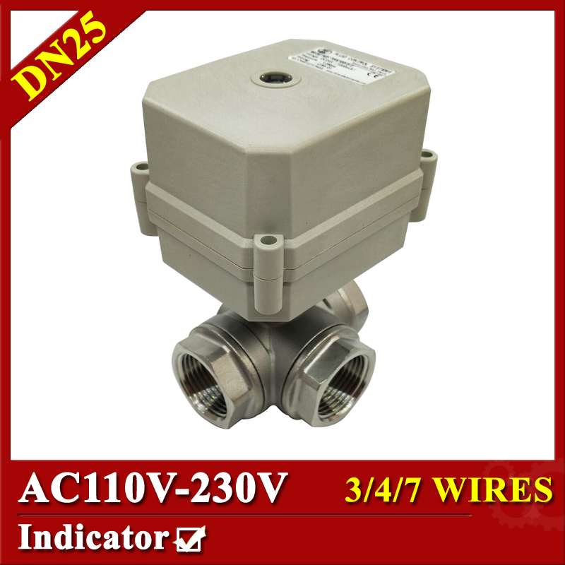 Tsai Fan actuator valve 1'' 10Nm 3 way L type stainless valve AC110-230V 3/4/7 wires BSP/NPT with indicator for water heater ac110 230v 5 wires 2 way stainless steel dn32 normal close electric ball valve with signal feedback bsp npt 11 4 10nm