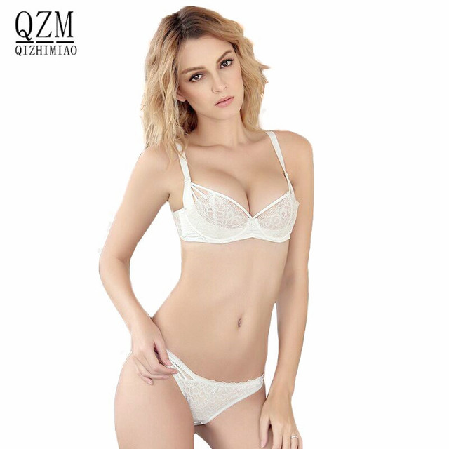1f4ee6ff38 QIZHIMIAO New Lace Lingerie Bra Set Women Sexy Bra Set Push Up Bras  Underwear Sets Plus size Adjustable Bras and Panties Set