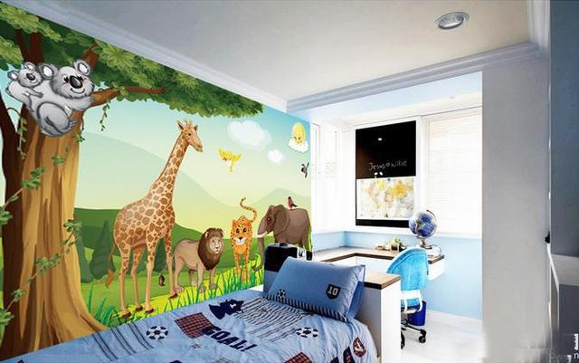 Anpassen Tapete Cartoon Waldtiere Vector Kinderzimmer Wand Tv
