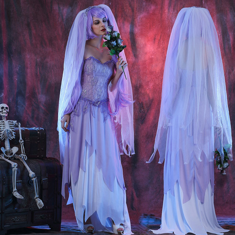 Umorden Womens Dying To Marry Purple Zombie Corpse Bride Costume Halloween Dia De Los Muertos Day Of The Dead Party Dress
