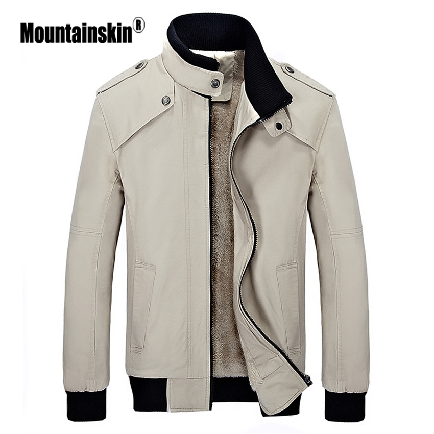 Mountainskin 2017 New Men s Winter Parkas Stand Collar Casual Warm Coats Mens Inside Fleece Outerwear