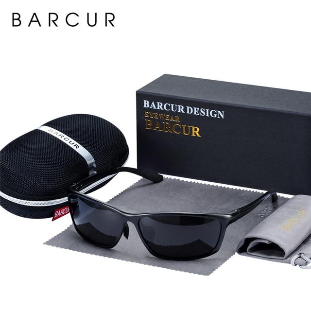 BARCUR Aluminum Polarized Sunglasses for Men Eyewear Accessories Men Blue Mirror Sun Glasses Luxury Goggle