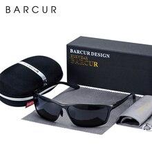 Barcur アルミ偏光サングラスメンズ眼鏡アクセサリー男性ブルーミラーサングラス高級ゴーグル