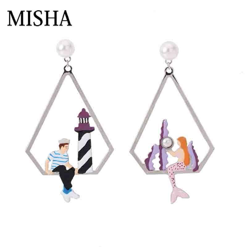 MISHA 2018 Pre-order Earrings Romantic mermaid love simulation pearl Handmade Earrings Original Design Dangle Fine Jewelry L744