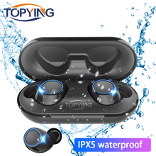 TOPYING TWS 5.0 wireless Bluetooth Headset touch earplug sound Headphones 3D stereo sweat proof earphones With Mic Mini