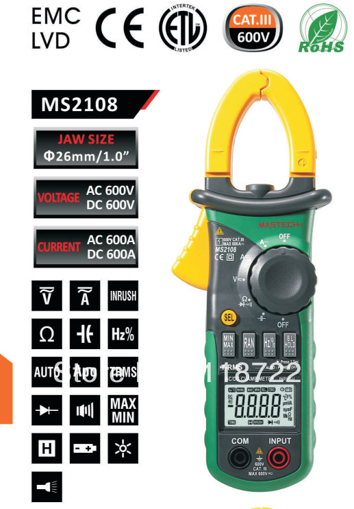Free Shipping , MS2108 T-RMS DC clamp meter nrush current auto range,digital AC/DC clamp meter