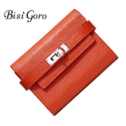 Bisi Goro 2019 Fashion Cowhide Leather Wallet Women Short Purse With Metal Lock Female Change Multi Card Holder Girls Clutch
