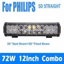"""Para PHILIPS 5D Recta 72 W 12 """"Pulgadas LED Luz de Trabajo Bar campo a través de Conducción de La Lámpara SUV ATV Luces de Coche Externa + Envío Del Mazo De Cables Kits"""
