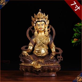 HOT SALE  HOME family efficacious Talisman Tibet Buddhism full Gilding Yellow Jambhala Zambala gold Buddha brass statue