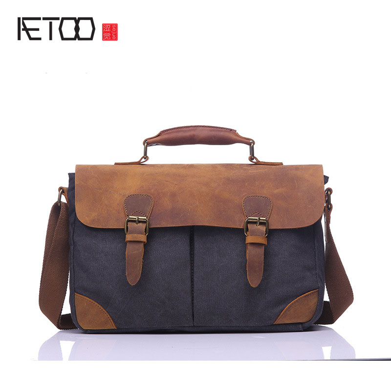 AETOO Retro casual men's canvas bag with leather briefcase European and American retro portable shoulder messenger bag men retro british school women messenger bag embossed hollow out shoulder briefcase department of forestry casual satchel