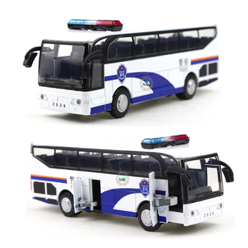 ของเล่นโลหะผสมรถยนต์รุ่นเดินทางบิ๊กแสงตำรวจรถบัสการ์ตูนแบบรถโรงเรียน juguetes v oiture ของขวัญคริสต์มาสสำหรับเด็ก