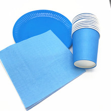 60PCS/LOT SOLID COLOR DISHES KIDS BIRTHDAY PARTY FAVORS BLUE PLAIN NAPKINS CUPS THEME DECORATIONS