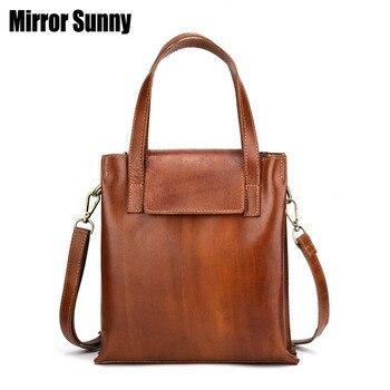 Vintage Genuine Leather Woman Handbags Female Shoulder Crossbody Bags Nature Skin Leather Messenger Bag Luxury Brand Women Totes
