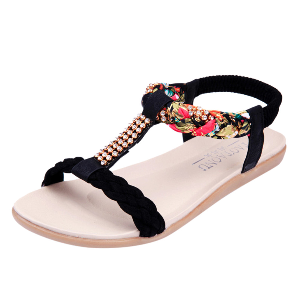 SAGACE Women Ladies Fashion Bohemian Style Loafers Casual Crystal Flats Shoes Sandals Sexy High Quality Summer Ladies ShoesSAGACE Women Ladies Fashion Bohemian Style Loafers Casual Crystal Flats Shoes Sandals Sexy High Quality Summer Ladies Shoes
