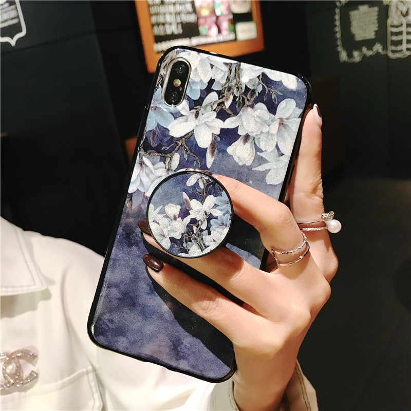 Uchwyt na stojak do telefonu etui na Huawei Mate 10 20 Pro lite 8 9 Nova 2i 2 Plus 2s 3 3i 4 4e 5 5pro kwiat miękkie pokrywa silikonowa