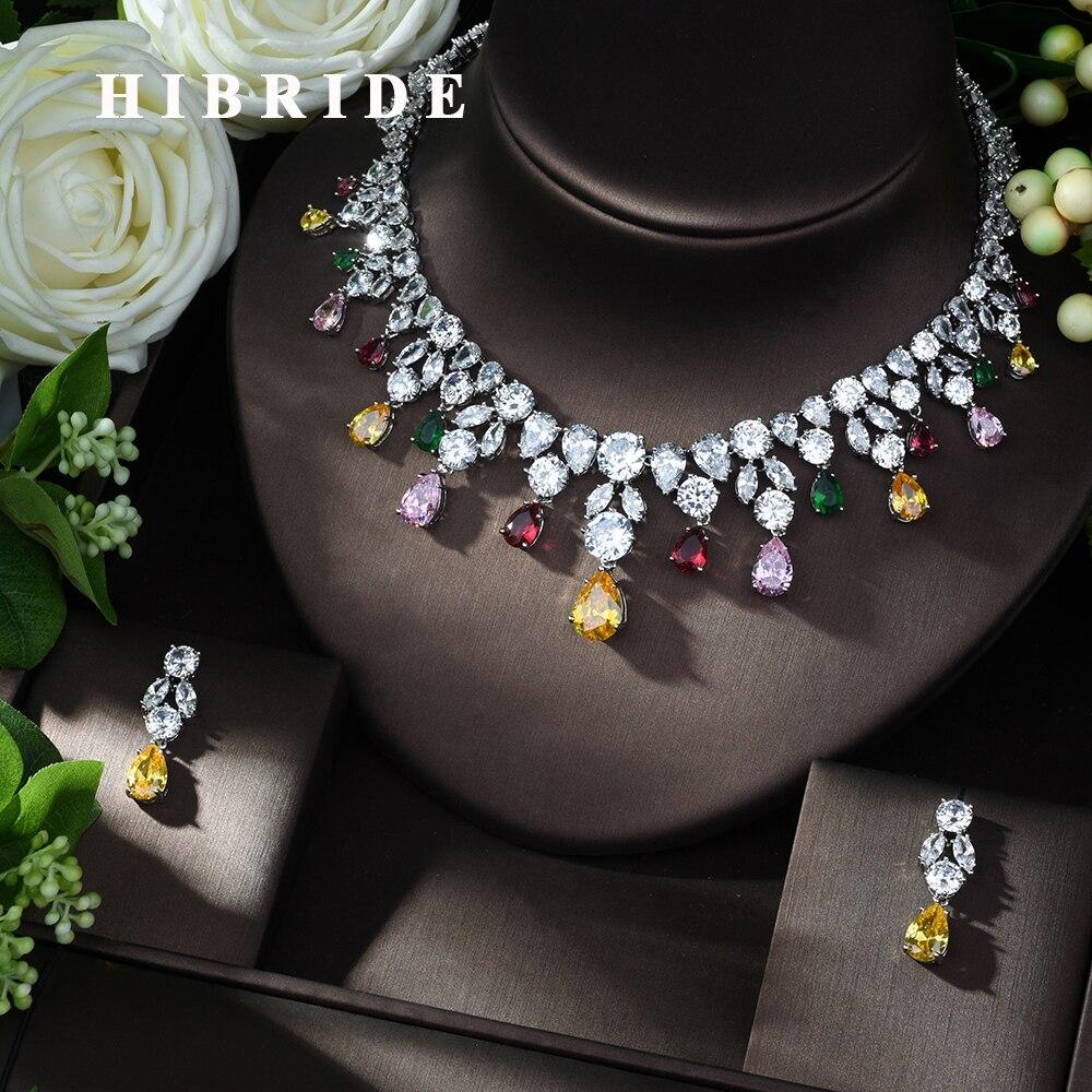 HIBRIDE Luxe Fête Glands 2 pièces Nigérianes Ensemble De Bijoux pour Les Femmes De Mariage Zircon Indien Ensemble De Bijoux De Mariée Africaine N-983
