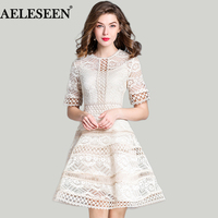 Luxury Elegant Plus Size Women Dresses Fashion White Short Sleeve Embroidery Hollow Out Patchwork Vintage 2018