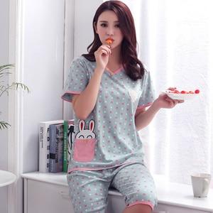 Image 5 - Plus Size XXXL 2020 summer sleepwear women pajamas sets v neck cartoon short sleeve pajama suit cotton women homewear suit soft