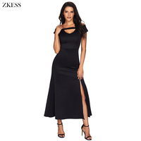 ZKESS Women New Cold Shoulder Front Slit Flare Maxi Dress Sexy V Neck Empire Waistline Party