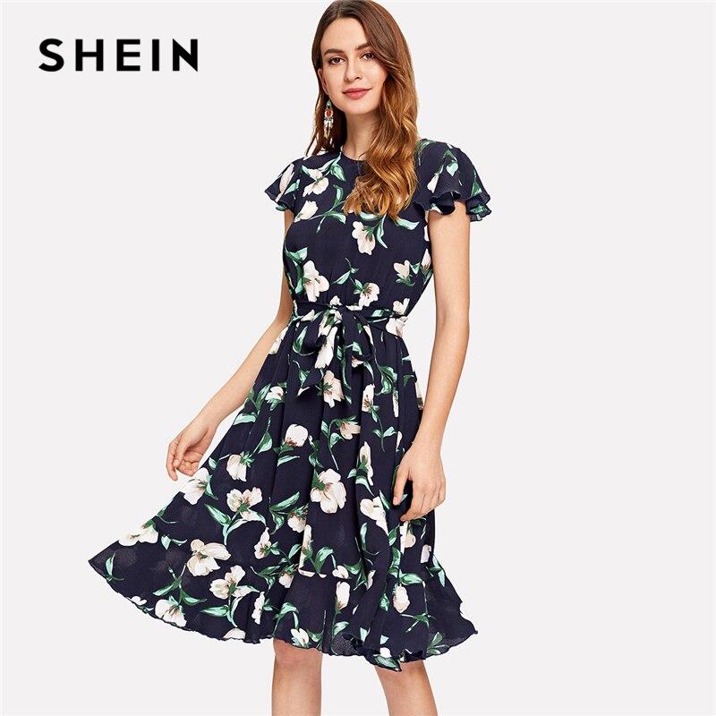 SHEIN Multicolor Vacation Boho Bohemian Beach Flutter Sleeve Self Belted Ruffle Hem Round Neck Dress Summer Women Casual Dresses
