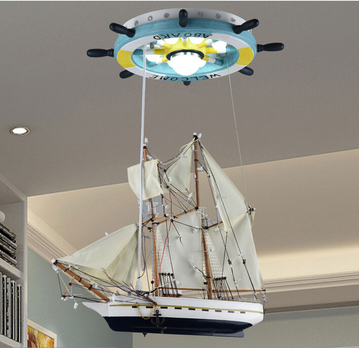 Free Shipping Children Boat Pendant Lamp Modern Rubber Design Lights Fixture Kids Bed Room Lighting In From