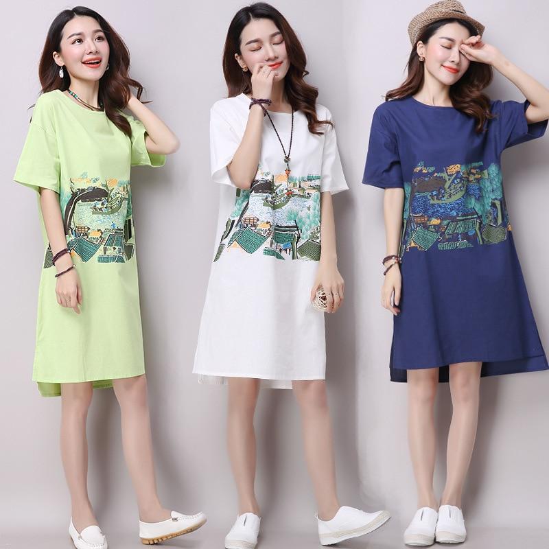 Letní šaty 2019 Loose Cotton women print Vestidos Chinese Style Female A-line Krátký rukáv Ženské Bílé Šaty Plus Velikost