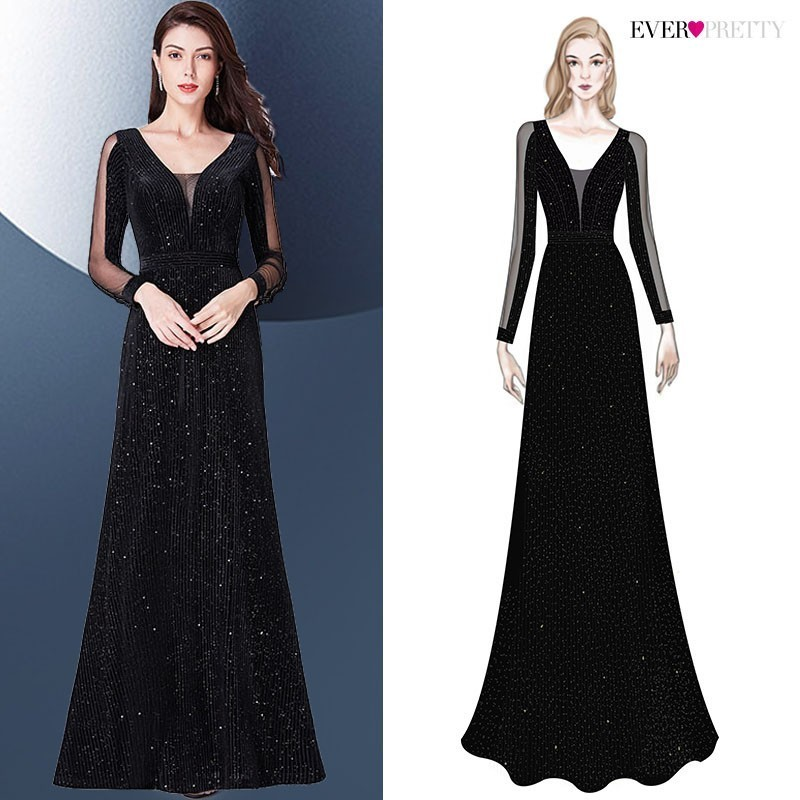 Evening Dresses 2019 Long Sleeve Ever Pretty V-neck Sparkle Elegant Little Mermaid Autumn Winter Long Formal Party Prom Gowns