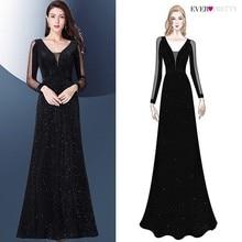 Evening Dresses 2019 Long Sleeve Ever Pretty V-neck Sparkle