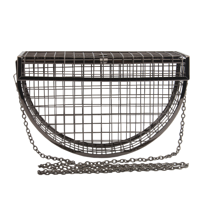 Women Clutch Evening Bag Metal Hollow Bag Banquet Party Shoulder Crossbody Bag Wedding Cage Bag Geometric Handbag bolsa feminina-in Top-Handle Bags from Luggage & Bags