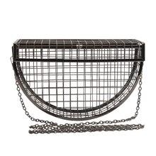 Women Clutch Evening Bag Metal Hollow Bag Banquet Party Shoulder Crossbody Bag Wedding Cage Bag Geometric Handbag bolsa feminina
