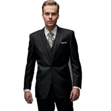 New Arrival Black Grooms Tuxedos Slim Fit Men Suits For Wedding Peaked Lapel Three-Piece Groomsmen Suit Two Button